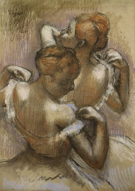 Two Dancers Adjusting their Shoulder Straps, c.189