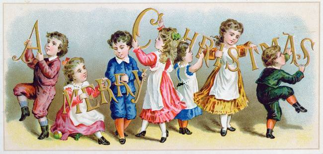 'A Merry Christmas', Victorian postcard )colour li