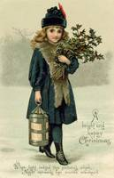 Young girl with Holly and Lantern, postcard, early