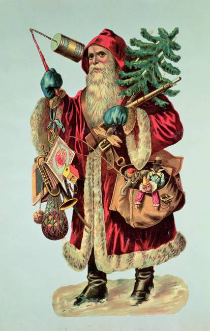 Father Christmas and toys, illustration
