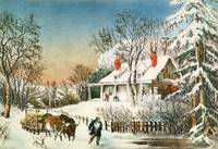 Bringing Home the Logs, Winter Landscape, 19th cen