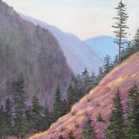 Original Painting, Purple Valley Landscape Art Prints & Posters by Gene Foust