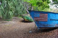 Refugee Boat with Flag