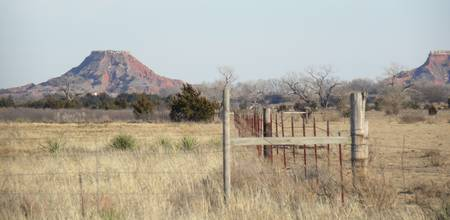 Fence at Gloss Mountains in NW Oklahoma No. 1