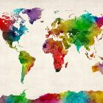 """Watercolor Map of the World Map"" by ModernArtPrints"