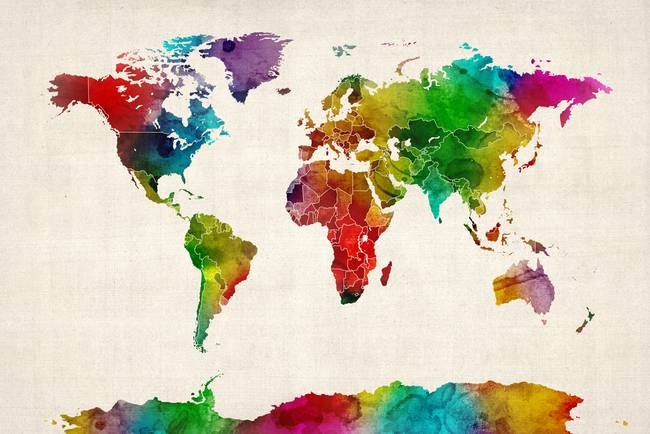 Stunning maps artwork for sale on fine art prints watercolor map of the world map by modernartprints 2012 sciox Images