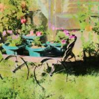 Petunias and Wagon by Faye Cummings