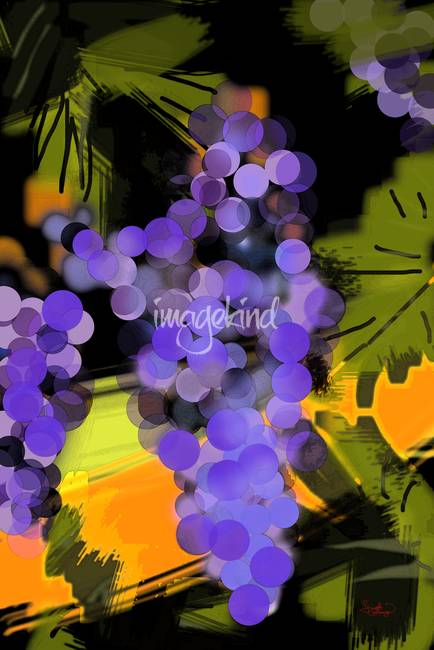 Blue Grapes Wine Fruit Modern Art