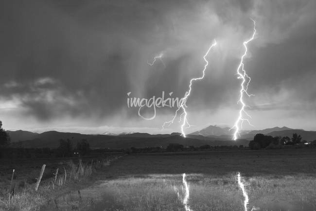 Lightning Striking Longs Peak Foothills 8BW