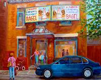 PAINTINGS OF MONTREAL STREETS FAIRMOUNT BAGEL SHOP