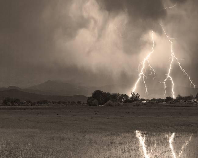 Lightning Striking Longs Peak Foothills 8CBWSepia