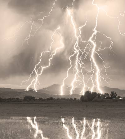 Lightning Striking Longs Peak Foothills 4C Sepia