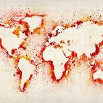 """Map of the World Paint Splashes"" by ModernArtPrints"