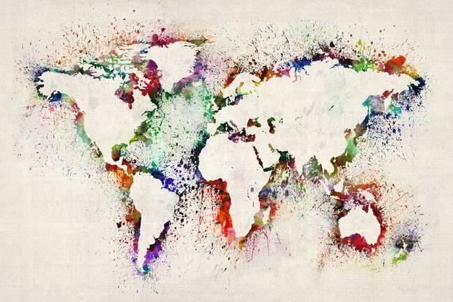 Map Of The World Paint Splashes By Michael Tompsett - World map art