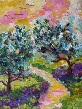 Olive Trees And Wild Lavender Oil Painting By Ginette Callaway