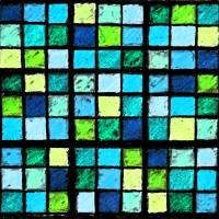 Sudoku Abstract Blue Green by Karen Adams