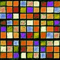 Sudoku Abstract Orange Purple by Karen Adams