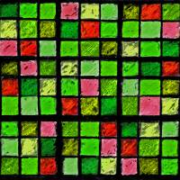Sudoku Abstract Green Red by Karen Adams