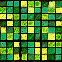 Sudoku Abstract Green Yellow by Karen Adams
