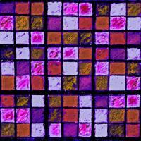 Sudoku Abstract Violet Orange by Karen Adams