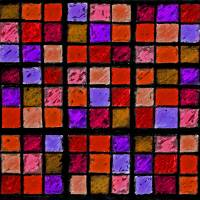 Sudoku Abstract Red Orange Purple by Karen Adams