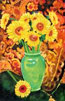 Sunflowers In A Green Vase