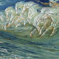 """""""Neptunes Horses 1910 (colour litho)"""" by fineartmasters"""
