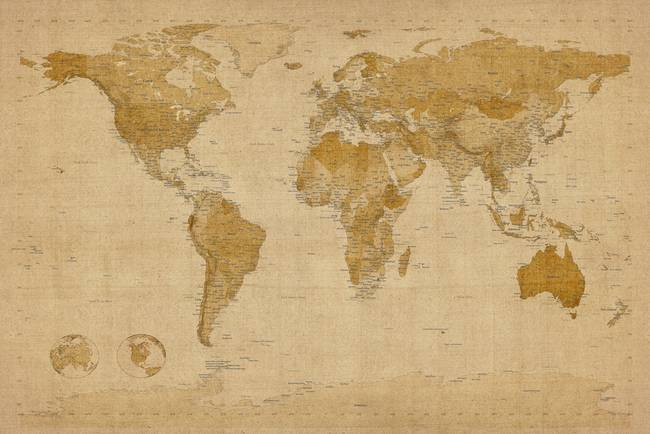 Stunning map of the world canvas artwork for sale on fine art prints world map antique style by modernartprints 2011 gumiabroncs Gallery