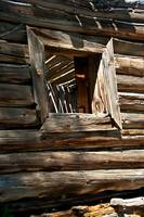 Window on log cabin