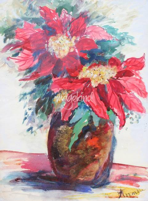 Poinsettias in a Brown Vase