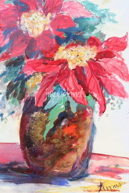 Poinsettias in a Brown Vase Partial