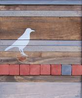 Reclaimed Wood Red and Gray Bird Painting