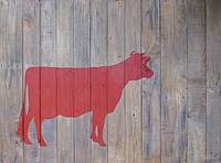 Reclaimed Wood Red Cow Painting