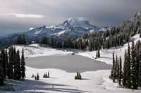 Mt. Rainier at Lower Tipsoo Lakes in winter