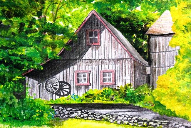 Stunning barn mixed media artwork for sale on fine art for New england barns for sale