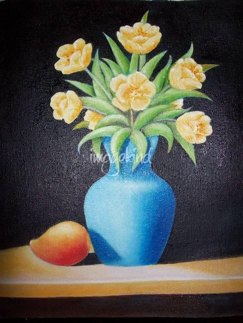 Still Life Flower Vase With A Mango By Ramana Rao Padala