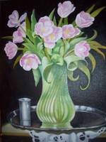 Still Life (Flower Vase with a steel Glass)