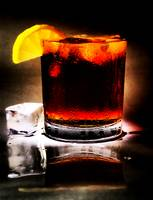 Iced-Tea with Lemon Slice and Ice Cube Beverage St