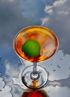 Lime, Orange Beverage & Sky Still Life Photograph