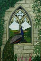 A Blue Peafowl on a Gothic Arch Detail