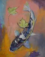 Koi with Japanese Maple Leaves