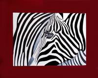 Zebra abstract on red