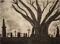 Graveyard by gothic old tree