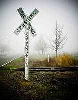 Foggy rail-road crossing