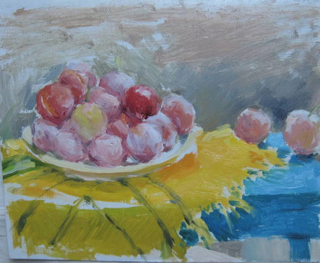 plums on a yellow kerchief