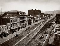 Market to 2nd, site of Palace Hotel, 1865 by WorldWide Archive