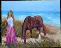 Girl Leading Horse on Beach