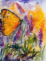 Yellow Butterfly on Lupines Modern Painting by Ginette Callaway