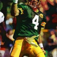 """Brett Favre, Green Bay Packers NFL Art"" by artofvela"