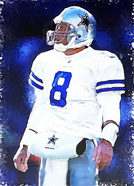 bfe7b7be943 Troy Aikman, Dallas Cowboys, NFL Art by Edward Vela